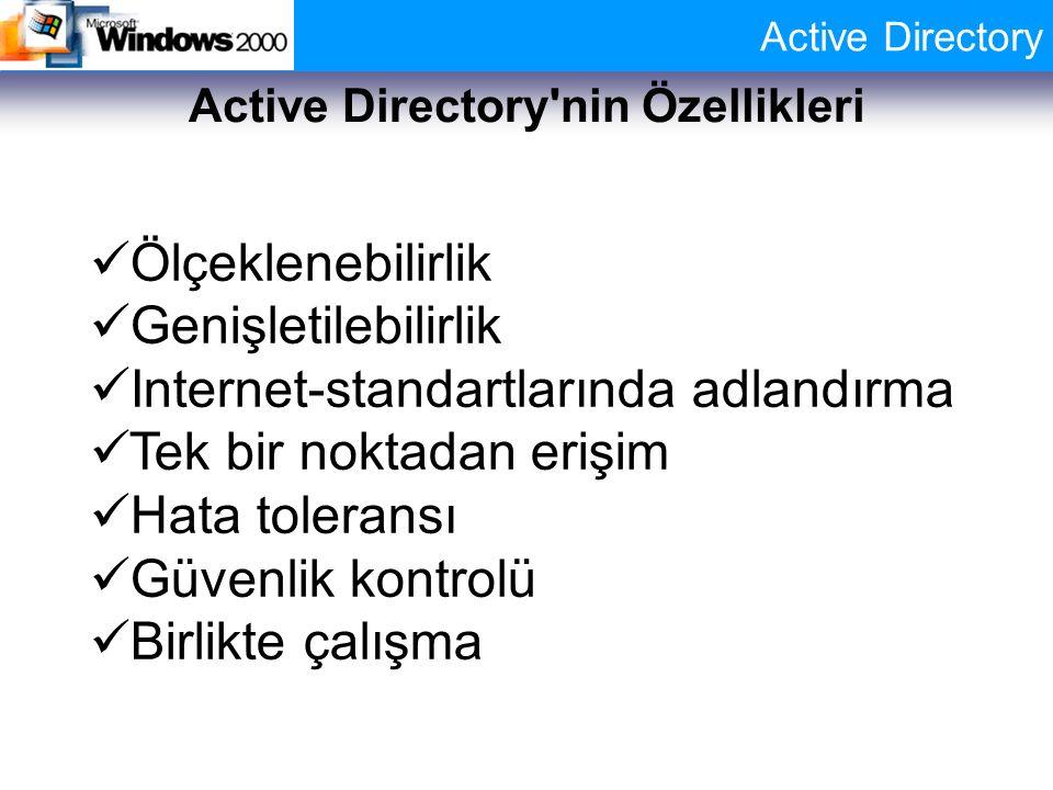 Active Directory Active Directory'nin Özellikleri Ölçeklenebilirlik Genişletilebilirlik Internet-standartlarında adlandırma Tek bir noktadan erişim Ha