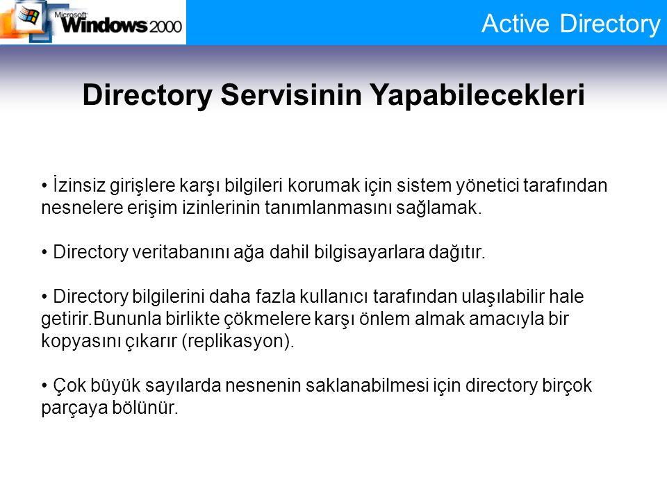 Active Directory Directory Servisinin Yapabilecekleri İzinsiz girişlere karşı bilgileri korumak için sistem yönetici tarafından nesnelere erişim izinl