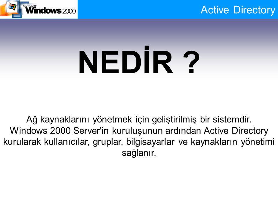 NEDİR ? Ağ kaynaklarını yönetmek için geliştirilmiş bir sistemdir. Windows 2000 Server'in kuruluşunun ardından Active Directory kurularak kullanıcılar