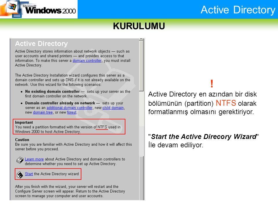 Active Directory KURULUMU ! Active Directory en azından bir disk bölümünün (partition) NTFS olarak formatlanmış olmasını gerektiriyor.