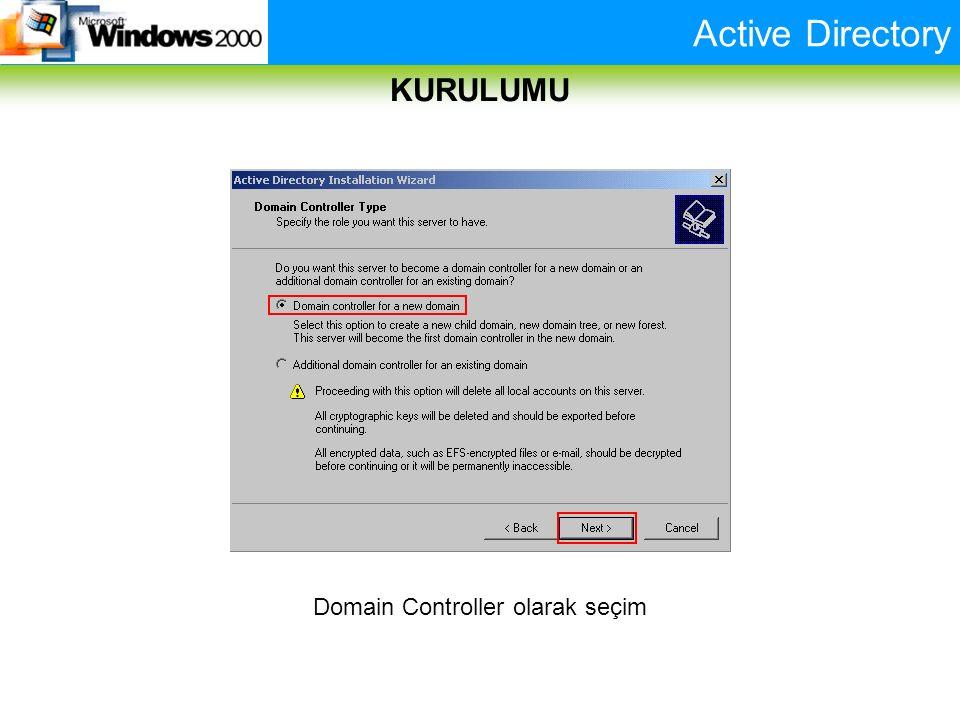 Active Directory KURULUMU Domain Controller olarak seçim