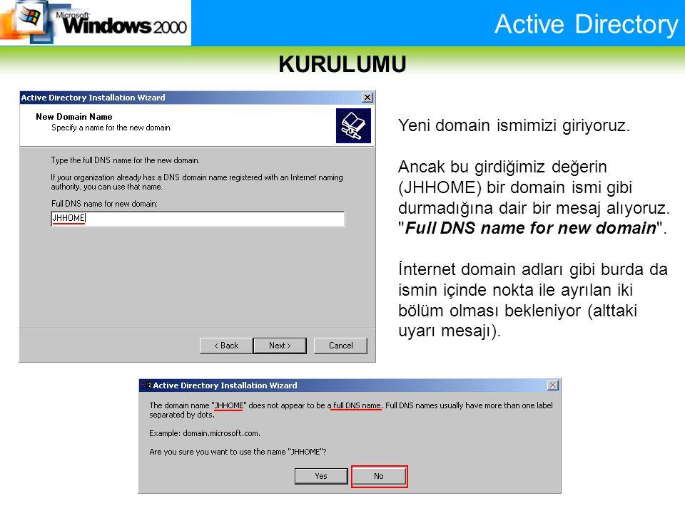 Active Directory KURULUMU Yeni domain ismimizi giriyoruz. Ancak bu girdiğimiz değerin (JHHOME) bir domain ismi gibi durmadığına dair bir mesaj alıyoru