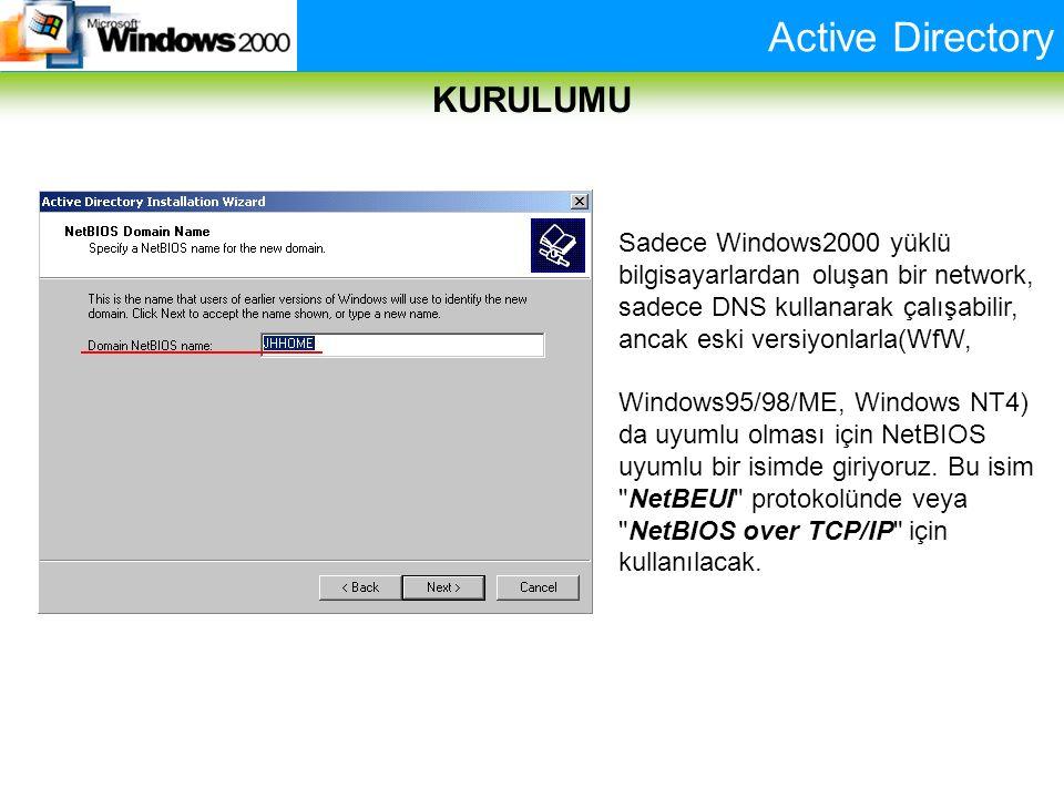 Active Directory KURULUMU Sadece Windows2000 yüklü bilgisayarlardan oluşan bir network, sadece DNS kullanarak çalışabilir, ancak eski versiyonlarla(Wf