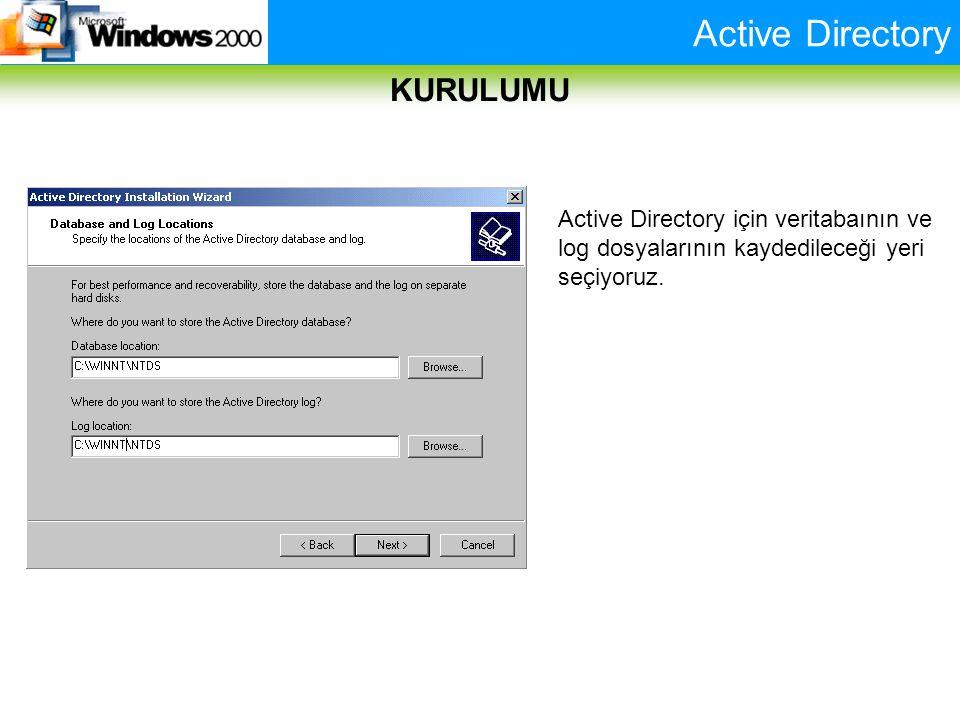 Active Directory KURULUMU Active Directory için veritabaının ve log dosyalarının kaydedileceği yeri seçiyoruz.