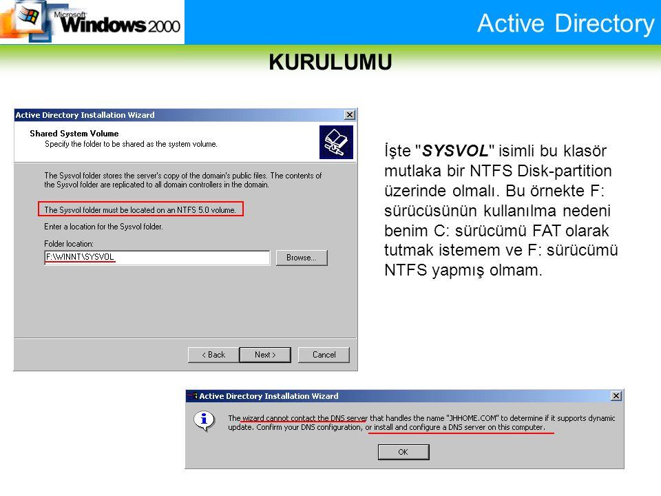 Active Directory KURULUMU İşte SYSVOL isimli bu klasör mutlaka bir NTFS Disk-partition üzerinde olmalı.