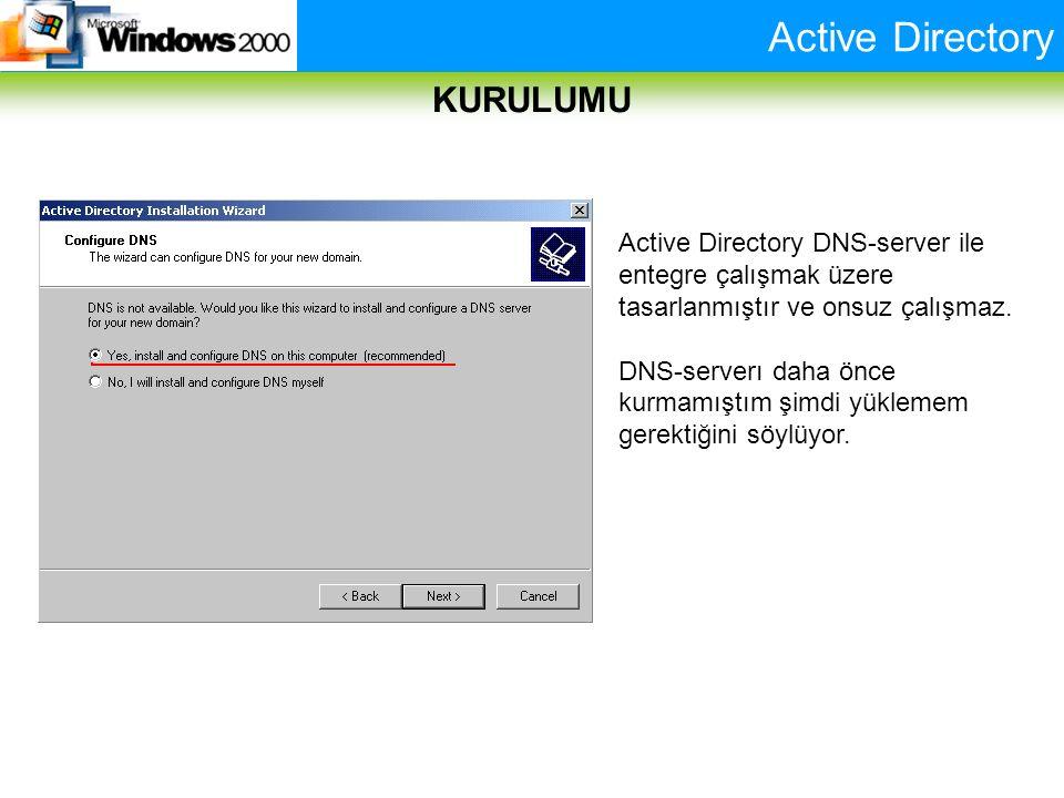 Active Directory KURULUMU Active Directory DNS-server ile entegre çalışmak üzere tasarlanmıştır ve onsuz çalışmaz. DNS-serverı daha önce kurmamıştım ş