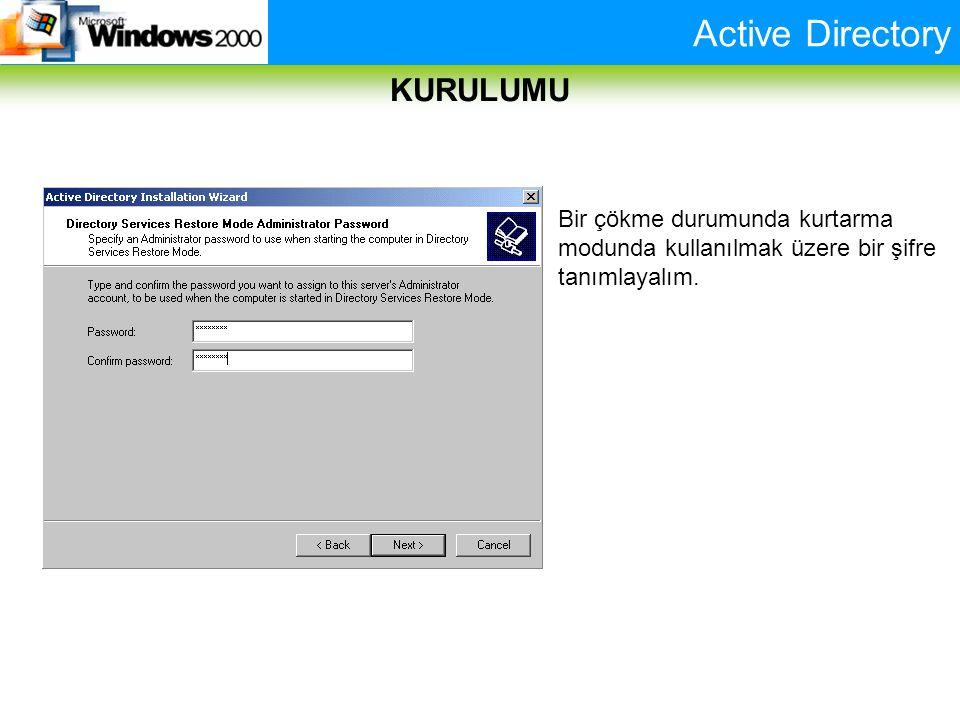Active Directory KURULUMU Bir çökme durumunda kurtarma modunda kullanılmak üzere bir şifre tanımlayalım.