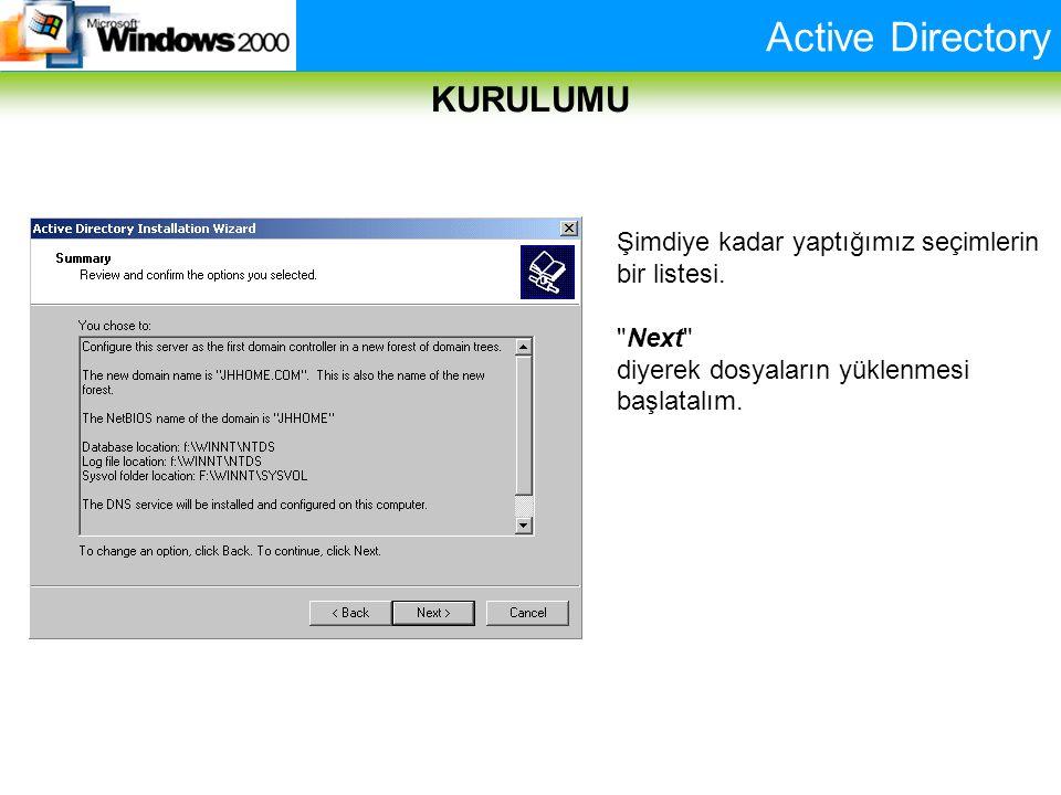 Active Directory KURULUMU Şimdiye kadar yaptığımız seçimlerin bir listesi.