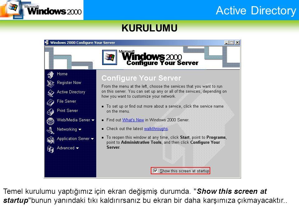 Active Directory KURULUMU Temel kurulumu yaptığımız için ekran değişmiş durumda.