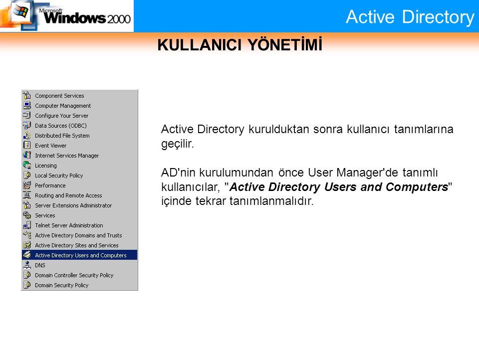 Active Directory KULLANICI YÖNETİMİ Active Directory kurulduktan sonra kullanıcı tanımlarına geçilir. AD'nin kurulumundan önce User Manager'de tanımlı
