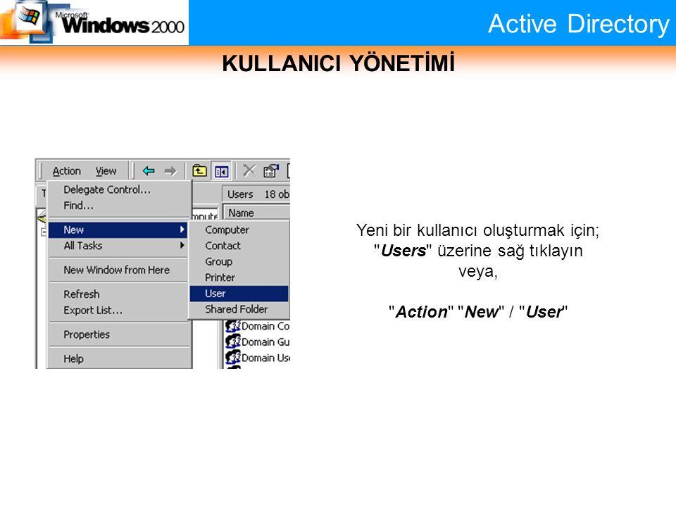 Active Directory KULLANICI YÖNETİMİ Yeni bir kullanıcı oluşturmak için;