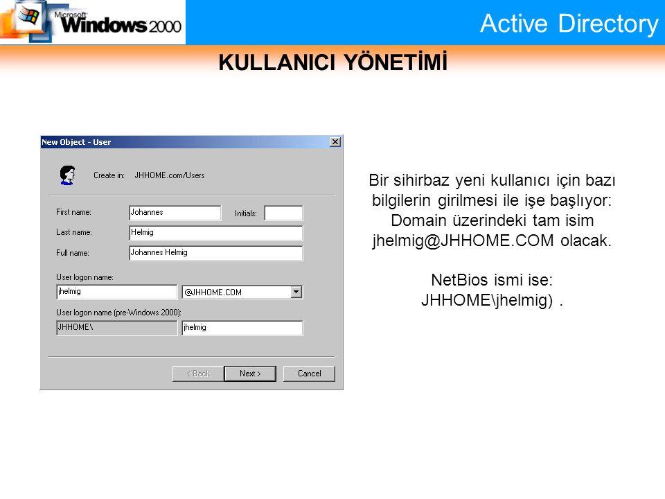 Active Directory KULLANICI YÖNETİMİ Bir sihirbaz yeni kullanıcı için bazı bilgilerin girilmesi ile işe başlıyor: Domain üzerindeki tam isim jhelmig@JH