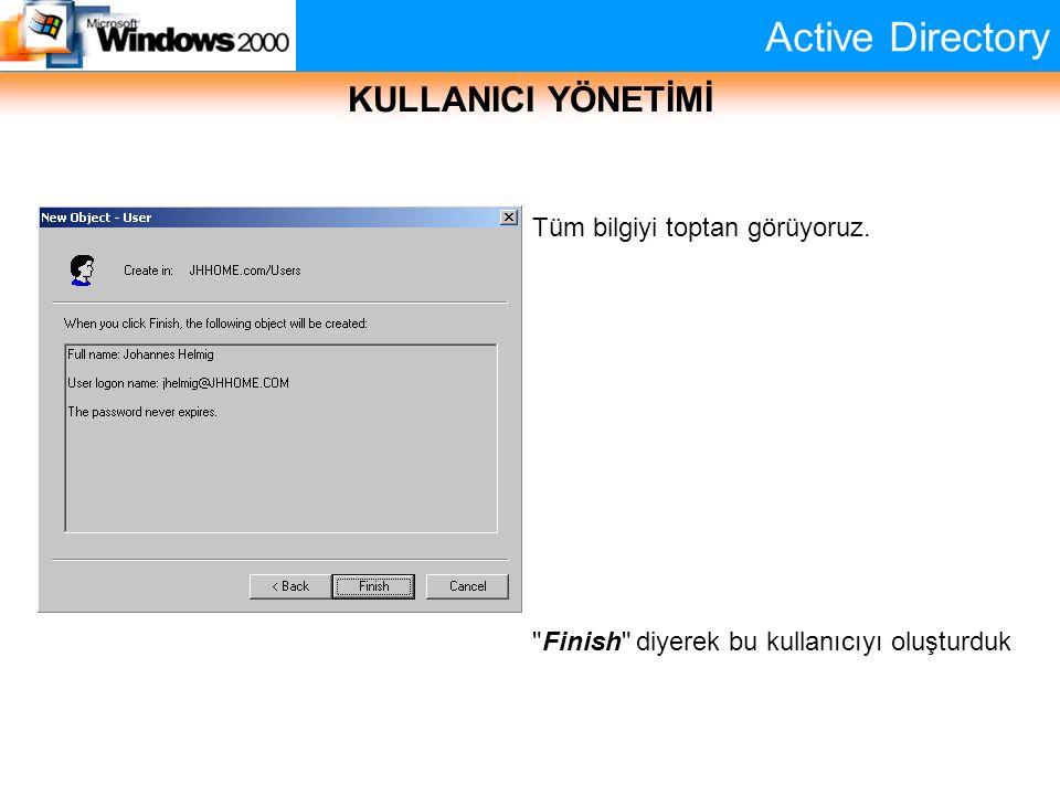 Active Directory KULLANICI YÖNETİMİ Tüm bilgiyi toptan görüyoruz.