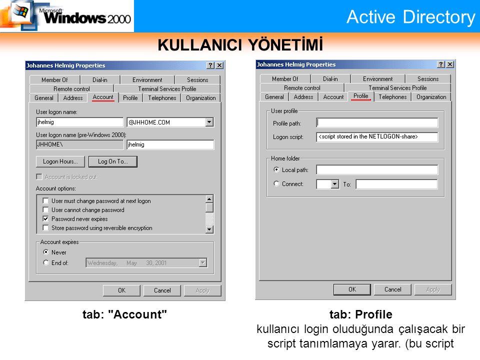 Active Directory KULLANICI YÖNETİMİ tab: Profile kullanıcı login oluduğunda çalışacak bir script tanımlamaya yarar. (bu script tab:
