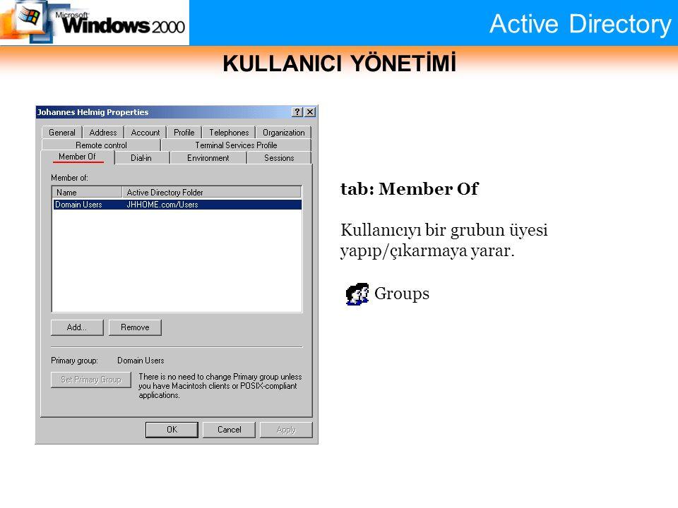 Active Directory KULLANICI YÖNETİMİ tab: Member Of Kullanıcıyı bir grubun üyesi yapıp/çıkarmaya yarar. Groups