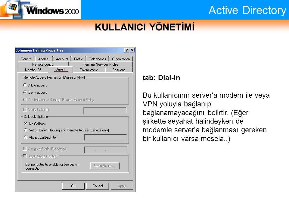 Active Directory KULLANICI YÖNETİMİ tab: Dial-in Bu kullanıcının server'a modem ile veya VPN yoluyla bağlanıp bağlanamayacağını belirtir. (Eğer şirket