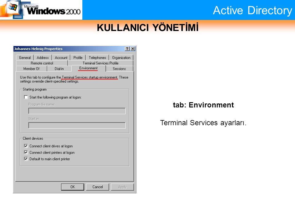 Active Directory KULLANICI YÖNETİMİ tab: Environment Terminal Services ayarları.