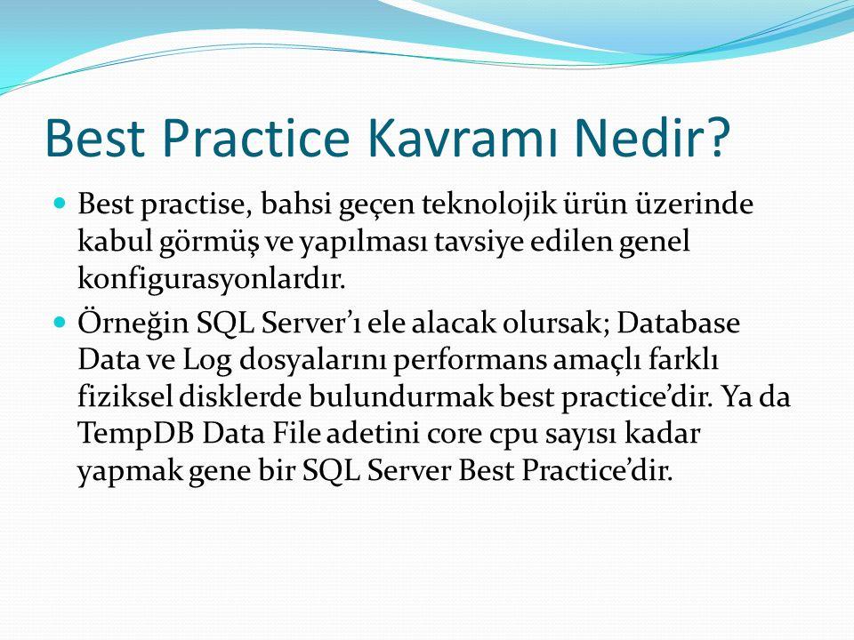 Best Practice Kavramı Nedir? Best practise, bahsi geçen teknolojik ürün üzerinde kabul görmüş ve yapılması tavsiye edilen genel konfigurasyonlardır. Ö