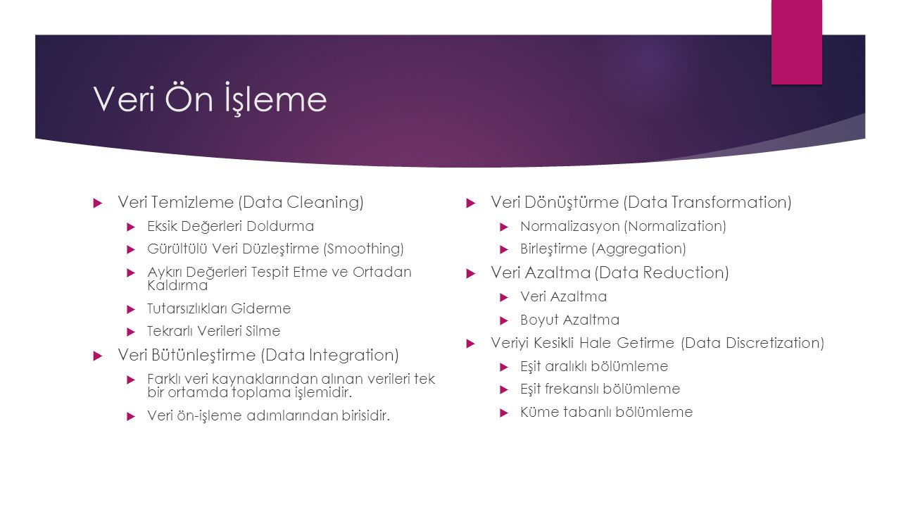 Veri Ön İşleme  Veri Temizleme (Data Cleaning)  Eksik Değerleri Doldurma  Gürültülü Veri Düzleştirme (Smoothing)  Aykırı Değerleri Tespit Etme ve Ortadan Kaldırma  Tutarsızlıkları Giderme  Tekrarlı Verileri Silme  Veri Bütünleştirme (Data Integration)  Farklı veri kaynaklarından alınan verileri tek bir ortamda toplama işlemidir.