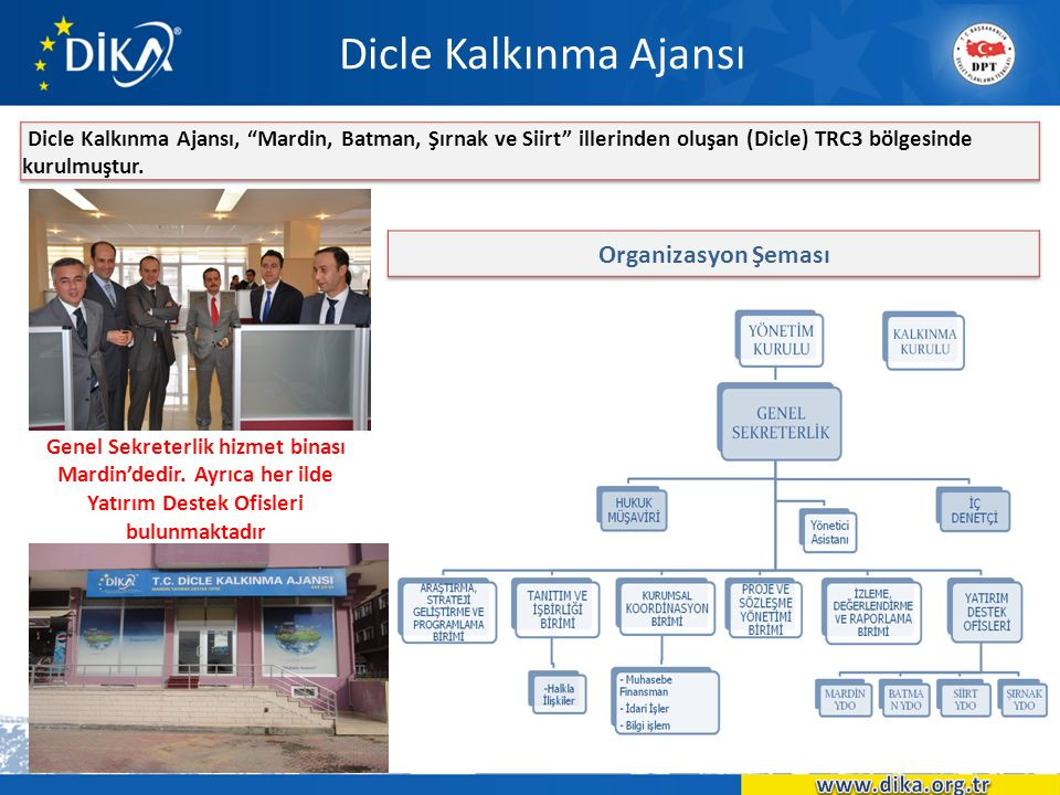 Dicle Kalkınma Ajansı Genel Sekreterlik hizmet binası Mardin'dedir. Ayrıca her ilde Yatırım Destek Ofisleri bulunmaktadır