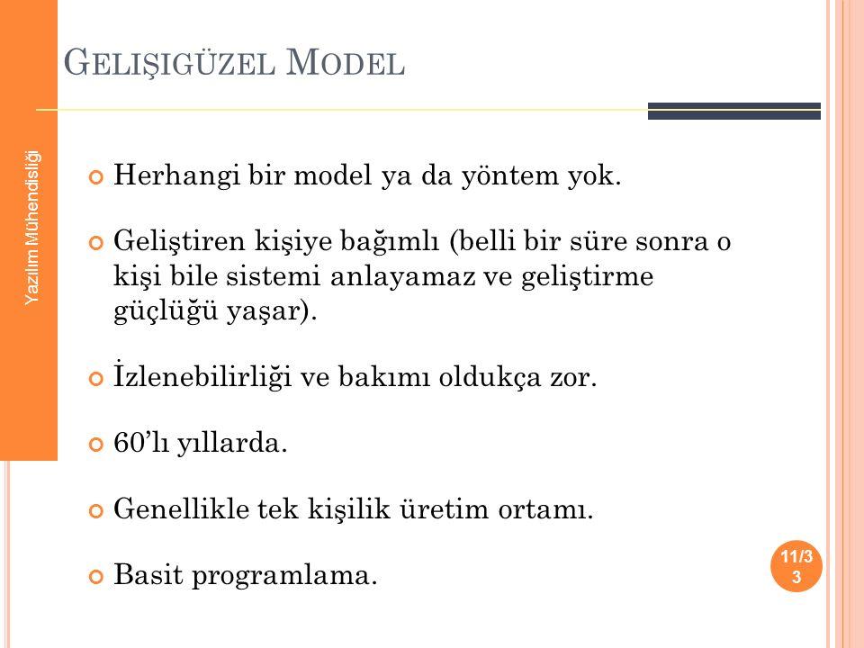 G ELIŞIGÜZEL M ODEL Herhangi bir model ya da yöntem yok. Geliştiren kişiye bağımlı (belli bir süre sonra o kişi bile sistemi anlayamaz ve geliştirme g