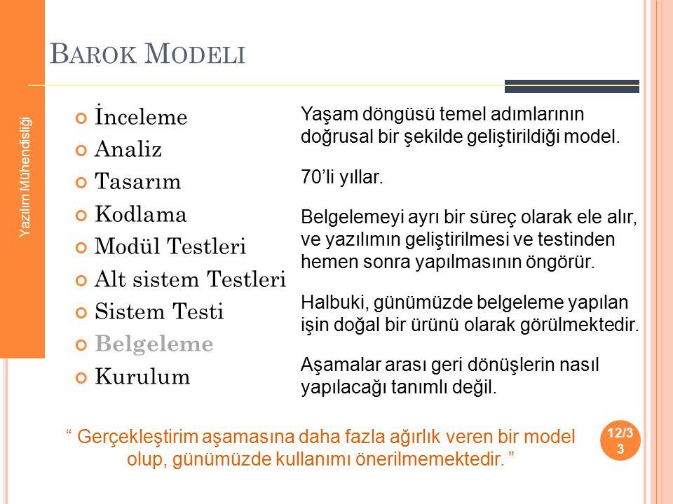 B AROK M ODELI İnceleme Analiz Tasarım Kodlama Modül Testleri Alt sistem Testleri Sistem Testi Belgeleme Kurulum 12/3 3 Yaşam döngüsü temel adımlarını