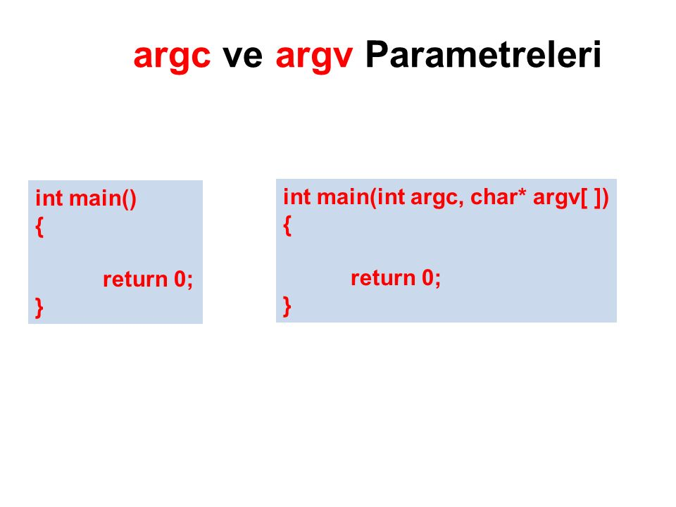 argc ve argv Parametreleri int main() { return 0; } int main(int argc, char* argv[ ]) { return 0; }