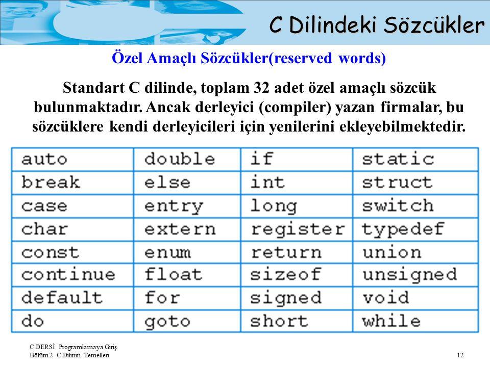 C DERSİ Programlamaya Giriş Bölüm 2 C Dilinin Temelleri 12 C Dilindeki Sözcükler Özel Amaçlı Sözcükler(reserved words) Standart C dilinde, toplam 32 adet özel amaçlı sözcük bulunmaktadır.
