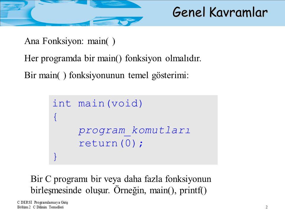 C DERSİ Programlamaya Giriş Bölüm 2 C Dilinin Temelleri 2 Genel Kavramlar int main(void) { program_komutları return(0); } Ana Fonksiyon: main( ) Her programda bir main() fonksiyon olmalıdır.