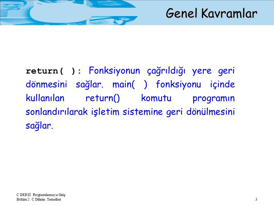 C DERSİ Programlamaya Giriş Bölüm 2 C Dilinin Temelleri 3 Genel Kavramlar – return( ): Fonksiyonun çağrıldığı yere geri dönmesini sağlar.
