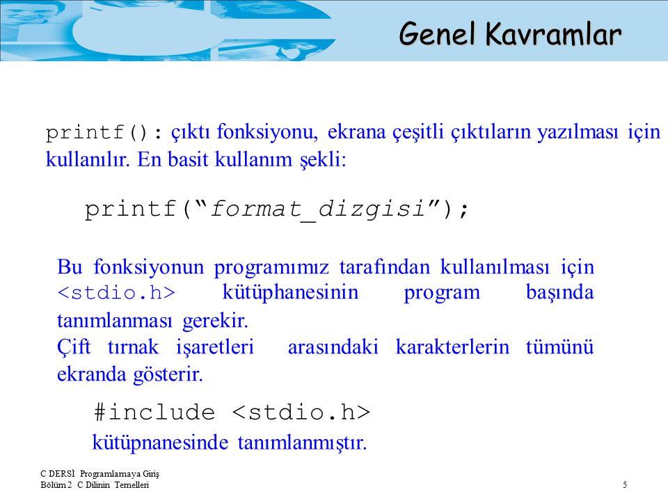 """C DERSİ Programlamaya Giriş Bölüm 2 C Dilinin Temelleri 5 #include kütüpnanesinde tanımlanmıştır. printf(""""format_dizgisi""""); Genel Kavramlar printf():"""