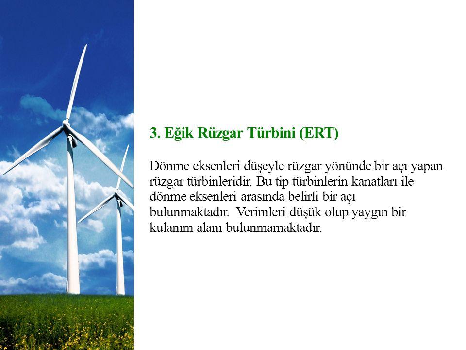 3. Eğik Rüzgar Türbini (ERT) Dönme eksenleri düşeyle rüzgar yönünde bir açı yapan rüzgar türbinleridir. Bu tip türbinlerin kanatları ile dönme eksenle
