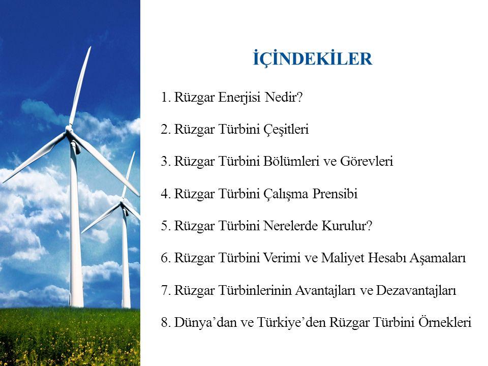 İÇİNDEKİLER 1. Rüzgar Enerjisi Nedir? 2. Rüzgar Türbini Çeşitleri 3. Rüzgar Türbini Bölümleri ve Görevleri 4. Rüzgar Türbini Çalışma Prensibi 5. Rüzga