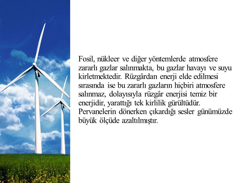 Fosil, nükleer ve diğer yöntemlerde atmosfere zararlı gazlar salınmakta, bu gazlar havayı ve suyu kirletmektedir. Rüzgârdan enerji elde edilmesi sıras