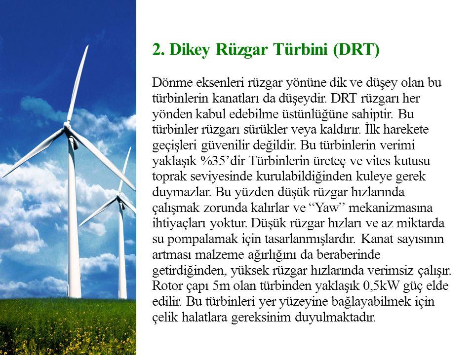 2. Dikey Rüzgar Türbini (DRT) Dönme eksenleri rüzgar yönüne dik ve düşey olan bu türbinlerin kanatları da düşeydir. DRT rüzgarı her yönden kabul edebi