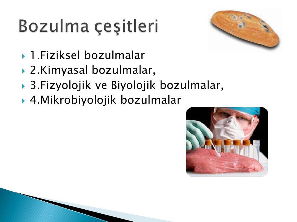  1.Fiziksel bozulmalar  2.Kimyasal bozulmalar,  3.Fizyolojik ve Biyolojik bozulmalar,  4.Mikrobiyolojik bozulmalar