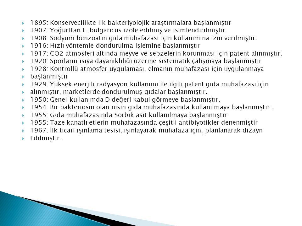  1895: Konservecilikte ilk bakteriyolojik araştırmalara başlanmıştır  1907: Yoğurttan L. bulgaricus izole edilmiş ve isimlendirilmiştir.  1908: Sod