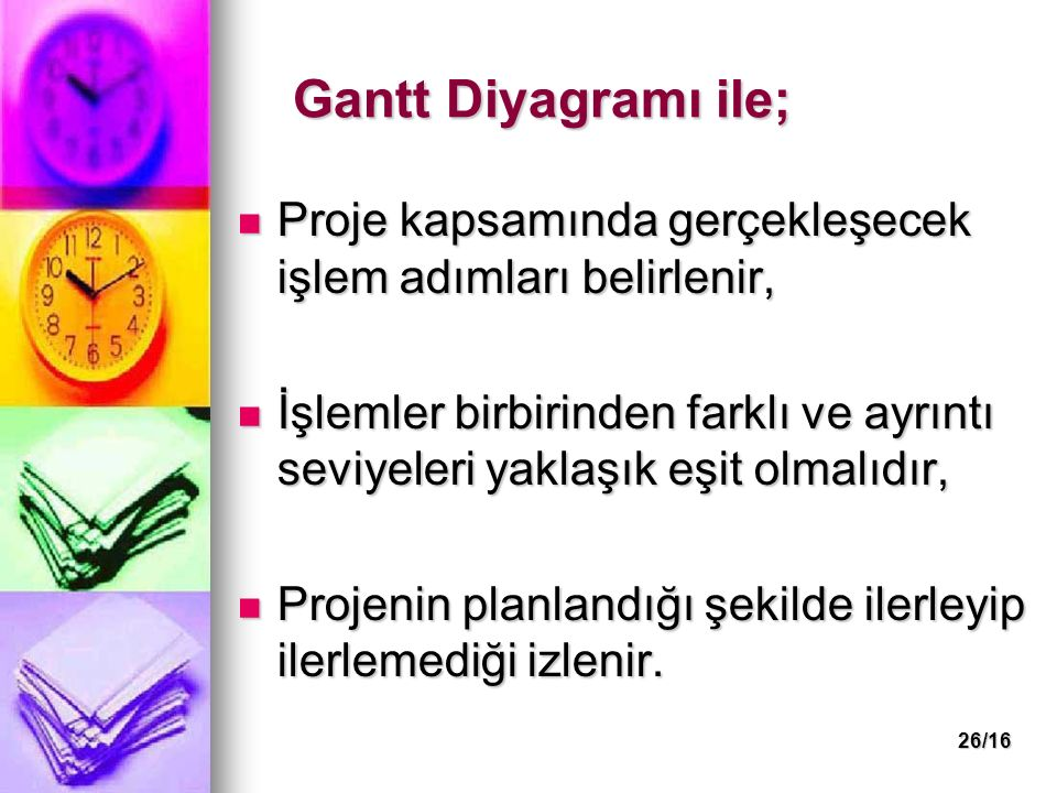 26/16 Gantt Diyagramı ile; Proje kapsamında gerçekleşecek işlem adımları belirlenir, Proje kapsamında gerçekleşecek işlem adımları belirlenir, İşlemle