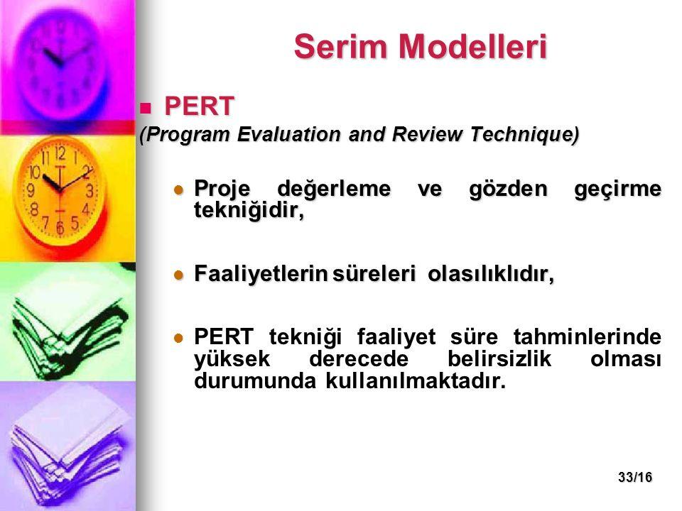 33/16 Serim Modelleri PERT PERT (Program Evaluation and Review Technique) Proje değerleme ve gözden geçirme tekniğidir, Proje değerleme ve gözden geçi