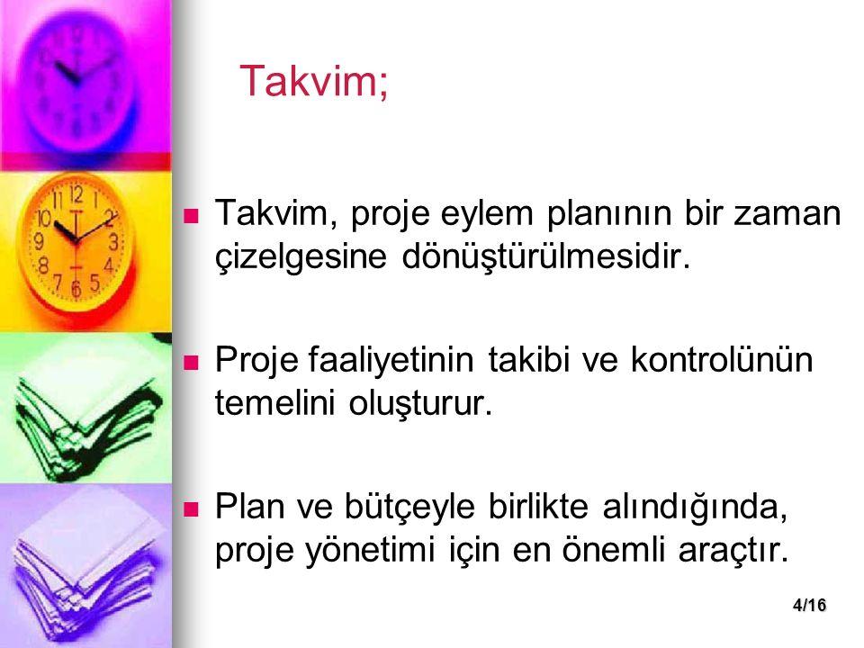 4/16 Takvim; Takvim, proje eylem planının bir zaman çizelgesine dönüştürülmesidir. Proje faaliyetinin takibi ve kontrolünün temelini oluşturur. Plan v