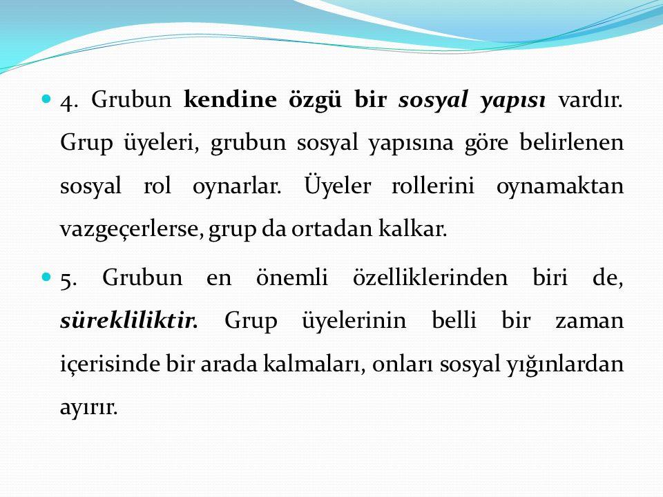 4. Grubun kendine özgü bir sosyal yapısı vardır. Grup üyeleri, grubun sosyal yapısına göre belirlenen sosyal rol oynarlar. Üyeler rollerini oynamaktan