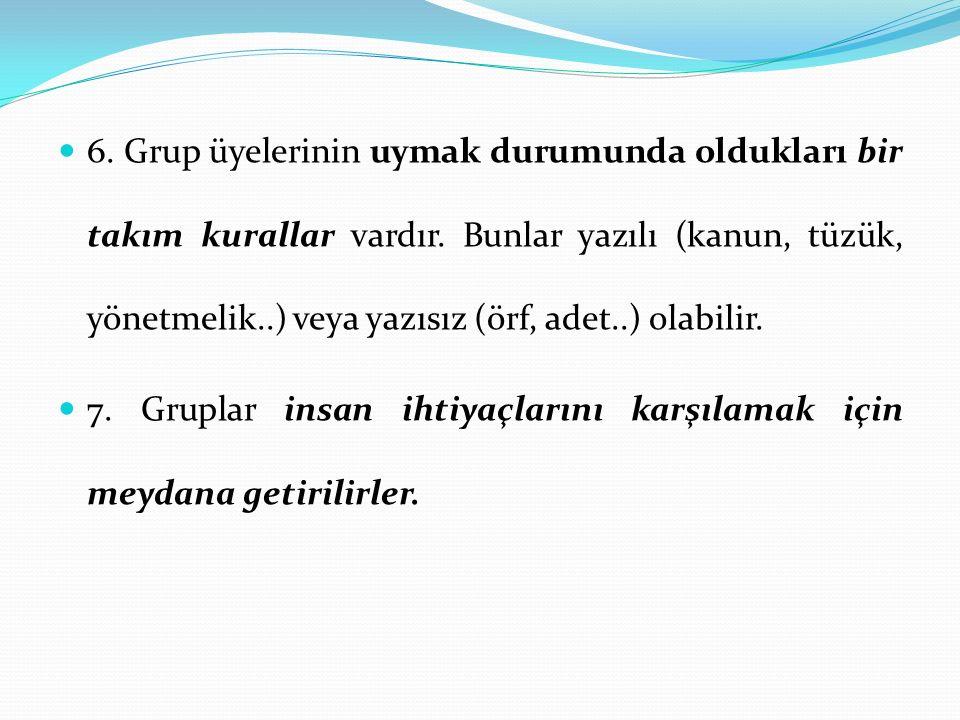 6. Grup üyelerinin uymak durumunda oldukları bir takım kurallar vardır. Bunlar yazılı (kanun, tüzük, yönetmelik..) veya yazısız (örf, adet..) olabilir