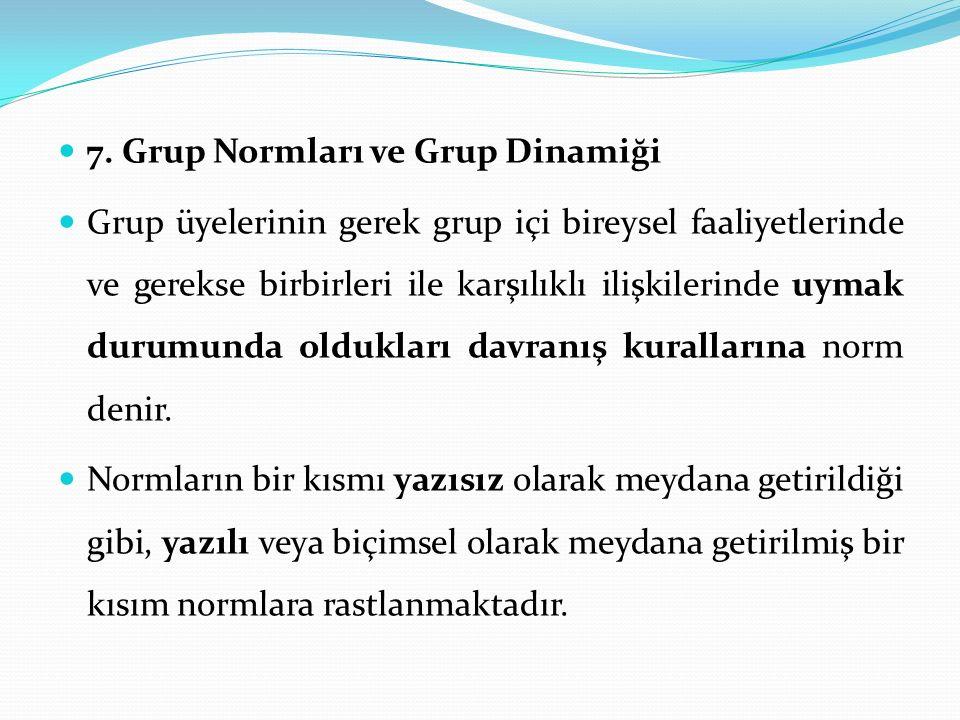 7. Grup Normları ve Grup Dinamiği Grup üyelerinin gerek grup içi bireysel faaliyetlerinde ve gerekse birbirleri ile karşılıklı ilişkilerinde uymak dur