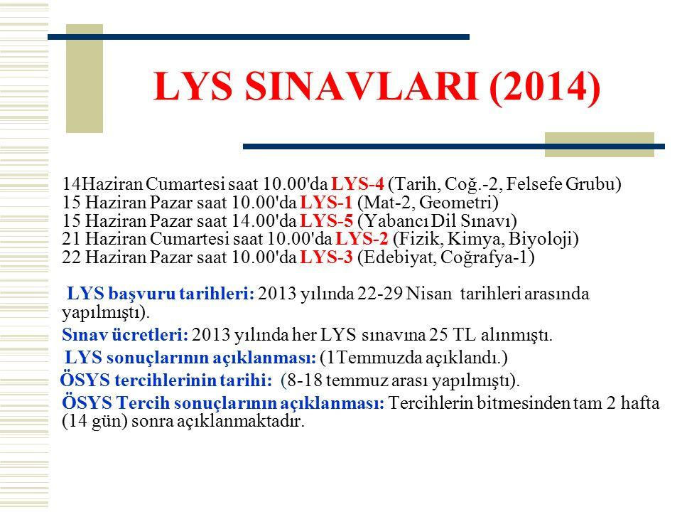 LYS SINAVLARI (2014) 14Haziran Cumartesi saat 10.00 da LYS-4 (Tarih, Coğ.-2, Felsefe Grubu) 15 Haziran Pazar saat 10.00 da LYS-1 (Mat-2, Geometri) 15 Haziran Pazar saat 14.00 da LYS-5 (Yabancı Dil Sınavı) 21 Haziran Cumartesi saat 10.00 da LYS-2 (Fizik, Kimya, Biyoloji) 22 Haziran Pazar saat 10.00 da LYS-3 (Edebiyat, Coğrafya-1) LYS başvuru tarihleri: 2013 yılında 22-29 Nisan tarihleri arasında yapılmıştı).