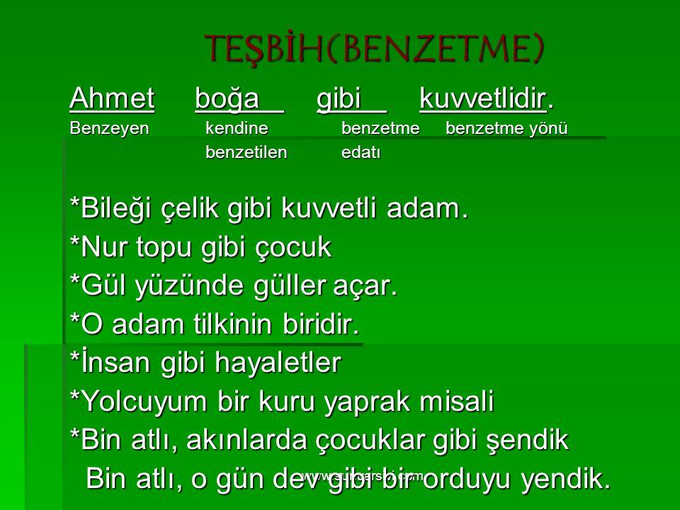 www.sunuarsivi.com TEŞBİH(BENZETME) Ahmet boğa gibi kuvvetlidir. Benzeyenkendinebenzetme benzetme yönü benzetilenedatı *Bileği çelik gibi kuvvetli ada