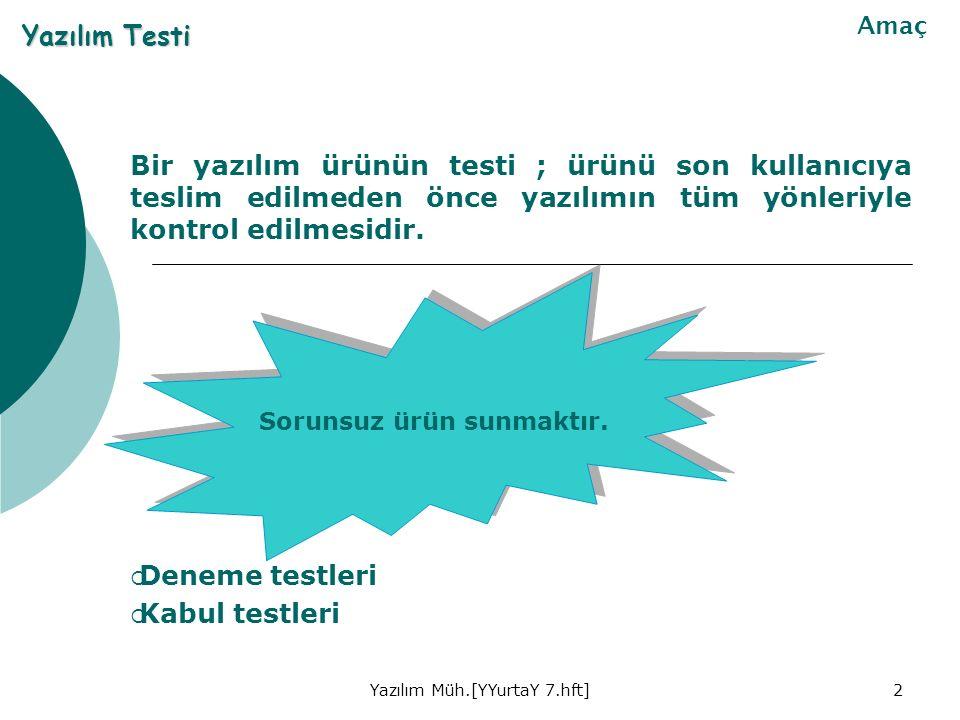 2 Bir yazılım ürünün testi ; ürünü son kullanıcıya teslim edilmeden önce yazılımın tüm yönleriyle kontrol edilmesidir.