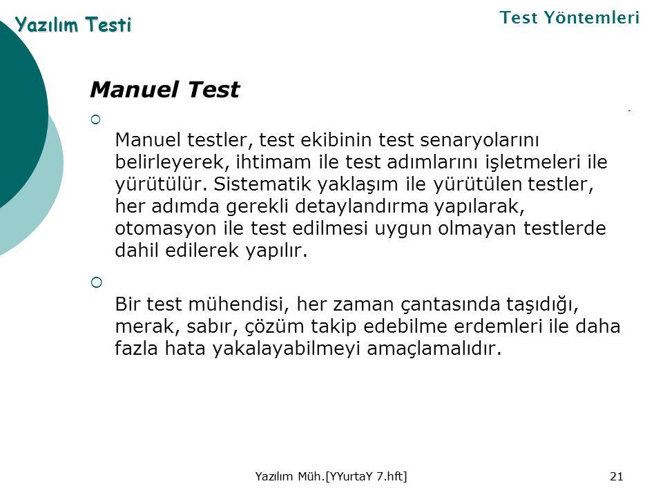 Manuel Test  Manuel testler, test ekibinin test senaryolarını belirleyerek, ihtimam ile test adımlarını işletmeleri ile yürütülür.