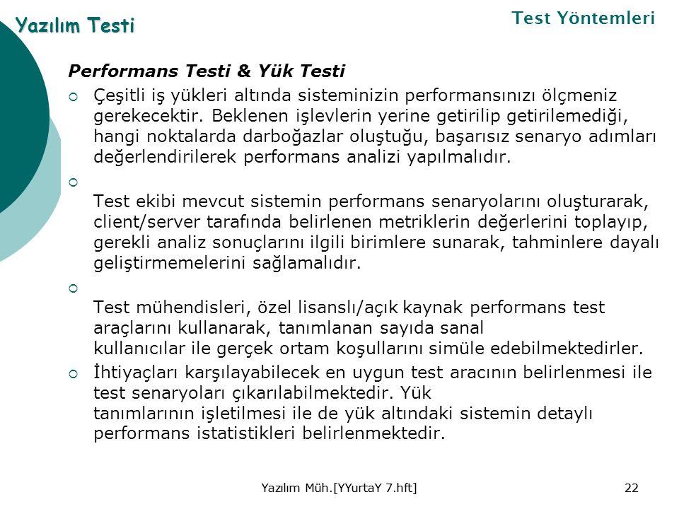 Performans Testi & Yük Testi  Çeşitli iş yükleri altında sisteminizin performansınızı ölçmeniz gerekecektir.