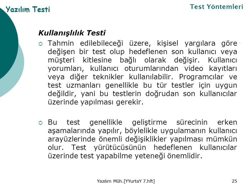 Kullanışlılık Testi  Tahmin edilebileceği üzere, kişisel yargılara göre değişen bir test olup hedeflenen son kullanıcı veya müşteri kitlesine bağlı olarak değişir.