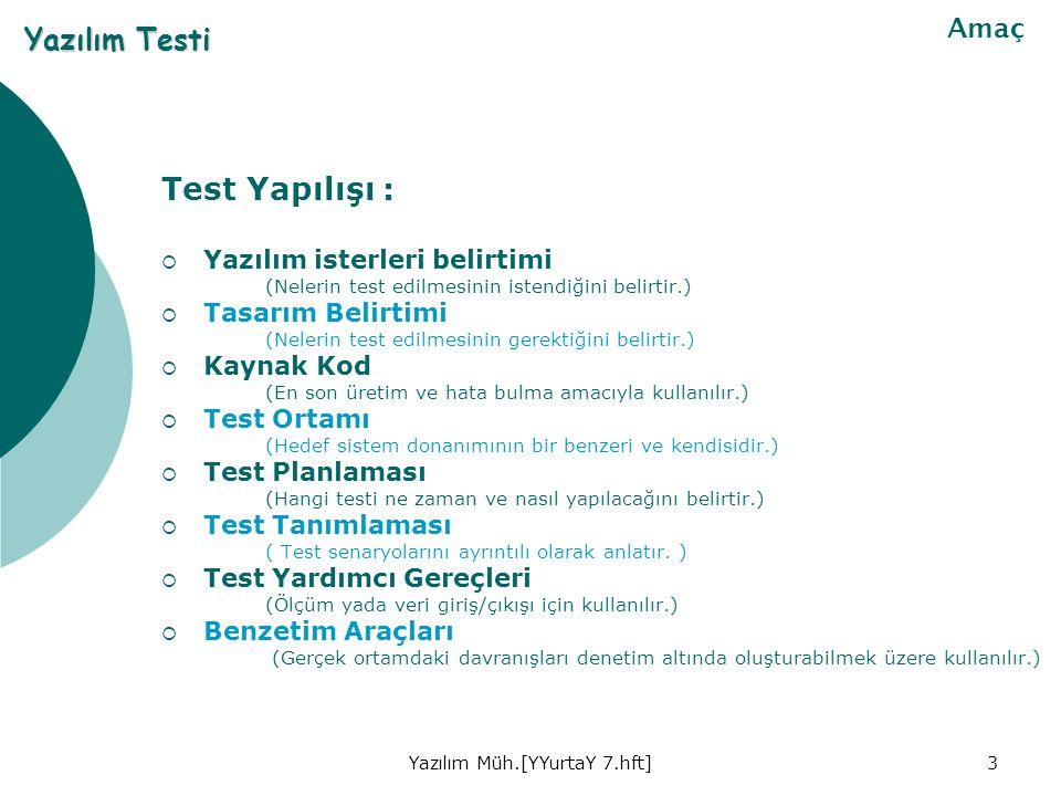 Yazılım Müh.[YYurtaY 7.hft]3 Test Yapılışı :  Yazılım isterleri belirtimi (Nelerin test edilmesinin istendiğini belirtir.)  Tasarım Belirtimi (Nelerin test edilmesinin gerektiğini belirtir.)  Kaynak Kod (En son üretim ve hata bulma amacıyla kullanılır.)  Test Ortamı (Hedef sistem donanımının bir benzeri ve kendisidir.)  Test Planlaması (Hangi testi ne zaman ve nasıl yapılacağını belirtir.)  Test Tanımlaması ( Test senaryolarını ayrıntılı olarak anlatır.